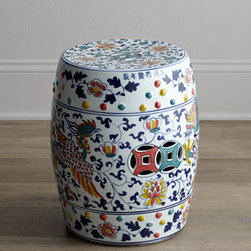 "Horchow - Dragon Garden Stool - With its traditional Asian motifs rendered in multiple vibrant colors against crisp white, this garden stool brings whimsy to the room as additional seating or a unique side table. Made of porcelain. Hand painted. 12.5""Dia. x 16.75""T. Imported. Box..."