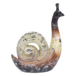 "Benzara - High Quality Ceramic Snail with Archaic and Timeless Appeal - Complementing other decorative elements and existing furnishings of your room, this stunning decor will be a great addition to your living space. This decorative piece is highly resilient to deterioration and is sure to last a lifetime with its sturdy construction. It provides an archaic and timeless appeal to your living space with its rustic appearance. The bright coloration with weathered finish renders the ceramic snail a rustic appeal that is sure to liven up your home decor. You can keep it on top of a stack of books for a great display, or use it as a paperweight. Made from high quality ceramic, it is bestowed with better durability and long lasting performance. Strikingly detailed, this decorative adds a perfect finishing touch to any modern or contemporary theme of your home decor. Moreover, you can present this wonderful piece of art to a friend as a gift on special occasions.; Great addition to your living space; Highly resilient to deterioration; Sturdy construction; Archaic and timeless appeal; Weight: 3.53 lbs; Dimensions:10""W x 4""D x 14""H"