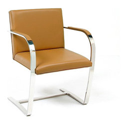 IFN Modern - Cantilever Chair-Brown - 100% Italian Leather - This chair inspired by a design from the 1930's city of Brno has been reproduced with touches of a modern flair. Perfect for office seating, especially receptions, this chair is a must for contemporary office decor. â— Product is available in 100% Full Grain Italian Leather or 100% Full Grain Aniline Leatherâ— This product DOES NOT use vinyl, PU or man-made forms of leather on ANY parts of the chair cushions.â— Frame is constructed of Solid Stainless Steel.â— Ergonomic Designâ— High Density Foam also fire-resistantâ— Leather Armrest Pads (hidden screws for cleaner look)