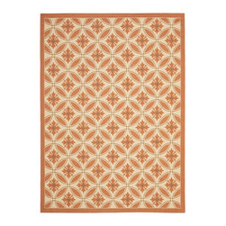 """Safavieh - Courtyard Brown/Red Area Rug CY7844-11A7 - 8' x 11'2"""" - Safavieh takes classic beauty outside of the home with the launch of their Courtyard Collection. Made in Belgium with enhanced polypropylene for extra durability, these rugs are suitable for anywhere inside or outside of the house. To achieve more intricate and elaborate details in the designs, Safavieh used a specially-developed sisal weave."""