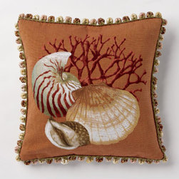 Corona Decor - Deep Orange Clam Pillow - -80% cotton, 20% wool.  -Made in france.  -Finished with hand tied fringe in the USA.  -Zippered with poly inserts.   -Dry clean only.   Corona Decor - PF5153/O