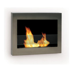 Anywhere Fireplace - SoHo Wall Mounted Ventless Bio Ethanol Fireplace, Silver - The clean, geometric, sophisticated design of the wall mounted Anywhere Fireplace SoHo Ethanol Fireplace is a stunning addition to the art of interior design. Born of ingenuity and exact lines, this ethanol burner can be hung anywhere - living room, bedroom, family room, and dining room alike; No need for a vent or flue. This fireplace only emits water vapor and carbon dioxide. No Smell, No Smoke, No Fumes! Stepping off the hearth and out of the box, this ethanol burning fireplace comes with mounting hardware, making it an easy installation and an even easier appliance. With the simple addition of bio-ethanol fuel, prepare to sit back and enjoy the warmth of real flames in just minutes.