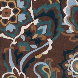 Surya - Cosmopolitan Rug in Raw Umber / Teal / Alpine Green - Great contemporary designs with a bright color palette and a price in reach of every buyer. Hand tufted using polyester fibers, these rugs will not shed. This is a beautiful addition to any decor. Price varies by size from $61.20 to $1,039.80.