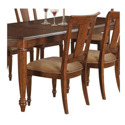 Wynwood - Wynwood Brendon Panel Back Side Chair in Hazelnut and Cabernet - Wynwood - Dining Chairs - 195042 - Brendon is a casual interpretation of early 19th century English design with convex case fronts and classic detailing. This collection features Hazelnut and Cabernet finishes on cherry veneers that compliment the style and antique brass finished hardware.