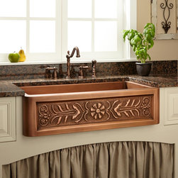 "33"" Flower Motif Copper Farmhouse Sink - A lively floral design gives this Farmhouse sink undeniable appeal. So does its glowing and durable 16-gauge copper construction."