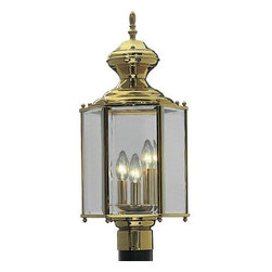 "Progress Lighting - P5432-10 Progress Lighting BrassGuard Lantern - Progress Lighting is pleased to present over 3,000 lighting fixtures offered in their catalog, the largest single source for residential and commercial lighting. For over 90 years, Progress Lighting has been committed to providing a diverse selection of high quality lighting fixtures. Width/Diameter: 9-1/2"". Height: 21"". Uses (3) 60w Max Candelabra Base bulbs. Post top lantern - Traditional hexagonal style. Polished, Weathered Brass or Antique Brass finish options. Solid brass construction. Clear beveled glass. Brass guard finish coat. Lamp replacement - remove top of lantern. Matching wall and chain hung units available. Post top - fitter for 3"" post or pedestal mount. Phenolic candelabra sockets. UL Wet location listed."