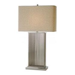 Joshua Marshal - One Light Brushed Nickel Latte Linen Shade Table Lamp - One Light Brushed Nickel Latte Linen Shade Table Lamp