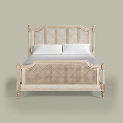 Maison Elise Bed - Evoking thoughts of France, the Elise bed is beautifully romantic.  It will be a gorgeous focal point in any bedroom.  Headboard and footboard are designed of woven cane panels and are embellished with hand-painted lattice details on the Vintage Linen finish. Carved leaf rosettes, fluted legs, and delicate beading complete the beautiful details of this lovely bed.