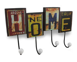 Zeckos - Rustic Retro License Plate HOME Wall Hook - This whimsical wall hook adds a fun, carefree rustic accent to any room in your home while providing a place to hang your keys, coats, hats or the dog's leash Made from metal, it's made to look like pieces of license plates from all different states, spliced together to spell 'home', and measures 14.5 inches (37 cm) long, 9 inches (23 cm) high and 3 inches (8 cm) deep. It easily mounts to the wall using the attached hangers on the back, and it makes a great housewarming gift for friend's and family that's sure to be admired