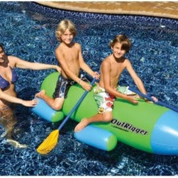 Swimline OutRigger 77 in. Inflatable Ride-On Pool Toy - Paddle the day away with the Swimline OutRigger 77 in. Inflatable Ride-On Pool Toy. This inflatable has room for two and oars that let you paddle across the pool with ease. Made of durable vinyl in green and blue, it's a great way to get active on a hot summer day.About SplashNet XpressSplashNet Xpress is dedicated to providing consumers with safe, high-quality pool products delivered in a fast and friendly manner. While it's adding new product lines all the time, SplashNet Xpress already handles pool maintenance items, toys and games, cleaning and maintenance devices, solar products, and aboveground pools.
