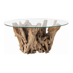 Kingston Natural Driftwood Oval Glass Cocktail Table from Arteriors Home - Admit it: Driftwood will always be downright groovy. Bring a natural element into your home with this gorgeous glass topped driftwood coffee table.
