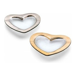"""Annieglass - Heart Shape Glass Bowl 24k Gold Trim, Platinum - Heart shape glass bowl by Annieglass with genuine Platinum trim - each piece is beautifully decorative yet extremely durable, chip-resistant and dishwasher safe. Makes a great wedding gift, birthday gift, baby shower gift, or any other special occassion! Handmade glass 8"""" heart bowl - Platinum produced in the U.S.A. Durable, chip-resistant and dishwasher safe. Banded with genuine platinum. Each Annieglass piece is handmade from architectural quality glass with Annie Morhauser's trademark slumping process which is a uniquely developed glass bending technique. Each piece is highly durable, dishwasher safe, chip resistant, and safe for dining."""