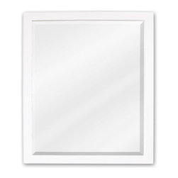 "Hardware Resources - Elements Bathroom Mirror - White Adler Mirror by Bath Elements 24"" X 28"" white mirror with beveled glass Corresponds with VAN066, VAN066-48, VAN066D-60 -"