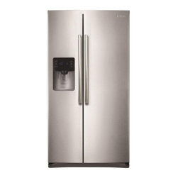 Samsung - RS25H5111SR 24.5 cu. ft. Side-By-Side Refrigerator with 3 Clear Crisper Bins  Tw - 245 cu ft Side by Side Refrigerator with External Filtered Ice  Water Dispenser Twin Cooling Plus system helps keep food fresher longer Digital temperature controls are precise and easy to use Glass spill proof shelving in the refrigerator and freeze...