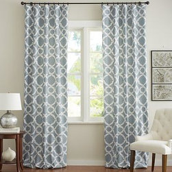 "Kendra Trellis Pole Pocket, 50 x 108"", Blue - Printed with a classic trellis motif, our drape energizes a space with subtle movement and soothing color. 50"" wide; available in four lengths Woven of a linen/cotton blend. Hangs from the pole pocket or converts to ring-top style with the 10 included drapery hooks. Use with our Round Rings (sold separately). Use with our Blackout Liner (sold separately) for enhanced light filtration. Watch a video on {{link path='/stylehouse/videos/videos/h2_v1_rel.html?cm_sp=Video_PIP-_-PBQUALITY-_-HANG_DRAPE' class='popup' width='420' height='300'}}how to hang a drape{{/link}}. Machine wash. Imported."