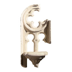 """Factory Direct Wall Decor - Gothic Shelf Fragment - The Gothic Shelf is a wonderful piece that resembles a shelf item that may have been removed from a gothic church. The fractured look and functional shelf is a beautiful piece for smaller walls that require a candle or a place to rest things. The dimensions for the total piece are 16""""W x 34""""H x 8"""" in Depth, and approximately weighs 10 lbs."""