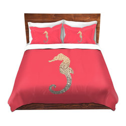 DiaNoche Designs - Duvet Cover Microfiber - Gatsby Gold Coral Seahorse - DiaNoche Designs works with artists from around the world to bring unique, artistic products to decorate all aspects of your home.  Super lightweight and extremely soft Premium Microfiber Duvet Cover (only) in sizes Twin, Queen, King.  Shams NOT included.  This duvet is designed to wash upon arrival for maximum softness.   Each duvet starts by looming the fabric and cutting to the size ordered.  The Image is printed and your Duvet Cover is meticulously sewn together with ties in each corner and a hidden zip closure.  All in the USA!!  Poly microfiber top and underside.  Dye Sublimation printing permanently adheres the ink to the material for long life and durability.  Machine Washable cold with light detergent and dry on low.  Product may vary slightly from image.  Shams not included.