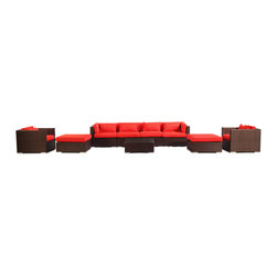 "Kardiel - Modify-It Modern Patio Furniture Garden Sofa Outdoor Kauai 9pc Set, Espresso Red - Introducing Kauai the 9-piece full size outdoor entertaining suite. Gather in comfort and modern style. A substantial Grande' length 4-seat sofa forms the centerpiece of the set. 2 generously sized ottomans transform the 2 armchairs into lounges. A matching coffee table placed in the center connects all elements of the classic modern style.  The flexible nature of Modify-It modular allows for customized reconfiguring of the layout at will. The design origins are Clean European. The elements of comfort are inspired by the relaxed style of the Hawaiian Islands. The Aloha series comes in many configurations, but all feature a minimalist frame and thick, ample modern cube cushions. The back cushions are consistent in shape, not tapered in to create the lean back angle. Rather the frame itself is specifically ""lean tapered"" allowing for a full cushion, thus a more comfortable lounging experience. The cushion stitch style utilizes smooth and clean hand tailoring, without extruding edge piping. The generously proportioned frame is hand-woven of colorfast, PE Resin wicker. The fabric is Season-Smart 100% Outdoor Polyester and resists mildew, fading and staining. The ability to modify configurations may tempt you to move the pieces around... a lot. No worries, Modify-It is manufactured with a strong but lightweight, rust proof Aluminum frame for easy handling."