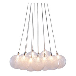 Zuo Modern - Cosmos - Floating in perfect unison, the Cosmos ceiling lamp is reminiscent of the stars floating in space. There are 12 orbs with 10W bulbs in each. The lamp is UL approved. Light source: 12 x G4 10W Halogen Type T. Bulb Included: Yes