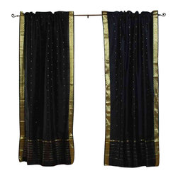 Indian Selections - Pair of Black Rod Pocket Sheer Sari Curtains, 80 X 108 In. - Size of each curtain: 80 Inches wide X 108 Inches drop. Sizing Note: The curtain has a seam in the middle to allow for the wider length