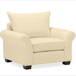 """PB Comfort Roll Arm Upholstered Grand Armchair, Knife-Edge Cushion, Down-Blend W - Built by our own master upholsterers in the heart of North Carolina, our PB Comfort Upholstered Grand Armchair is designed for unparalleled comfort with deep seats and three layers of padding. 46.5"""" w x 42"""" d x 39"""" h {{link path='pages/popups/PB-FG-Comfort-Roll-Arm-4.html' class='popup' width='720' height='800'}}View the dimension diagram for more information{{/link}}. {{link path='pages/popups/PB-FG-Comfort-Roll-Arm-6.html' class='popup' width='720' height='800'}}The fit & measuring guide should be read prior to placing your order{{/link}}. Choose polyester wrapped cushions for a tailored and neat look, or down-blend for a casual and relaxed look. Choice of knife-edged or box-style back cushions. Proudly made in America, {{link path='/stylehouse/videos/videos/pbq_v36_rel.html?cm_sp=Video_PIP-_-PBQUALITY-_-SUTTER_STREET' class='popup' width='950' height='300'}}view video{{/link}}. For shipping and return information, click on the shipping tab. When making your selection, see the Quick Ship and Special Order fabrics below. {{link path='pages/popups/PB-FG-Comfort-Roll-Arm-7.html' class='popup' width='720' height='800'}} Additional fabrics not shown below can be seen here{{/link}}. Please call 1.888.779.5176 to place your order for these additional fabrics."""