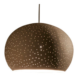 Lightexture - Claylight Pendant 11'', Dot Pattern - It's hard to decide what's more captivating: this stunning ceramic pendant light or the playful dashes of light it produces. Hatched from the mind of artist Sharan Elran, these matte clay fixtures are designed for hard-wiring, and come complete with a ceramic ceiling plate and energy-efficient xenon bulb.
