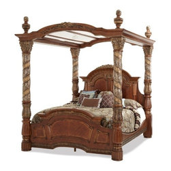 AICO Furniture - Villa Valencia Cal. King Bed with Canopy in Chestnut - 72000CKC -