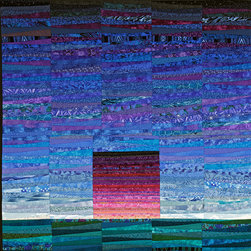 """More quilts - I loved this quilt. A simple abstract of the colors of dawn against the vast expanse of the sky. Each block in the quilt is different. The dawn is made with very thin pieces which makes it pop against the more informal sky. 45 x 45"""" Photo by John Polak"""