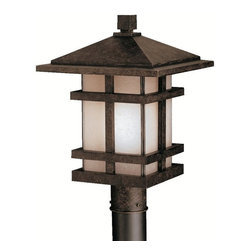 KICHLER - Kichler Cross Creek Arts and Crafts/Mission Outdoor Post Lantern - Stylish rustic charm is blended with mission styling and a classic lantern shape on this Kichler Lighting outdoor post lantern light. From the Cross Creek Collection, it features a warm Aged Bronze finish and coordinating textured linen seedy glass shade that completes the look. U.L. listed for wet locations.