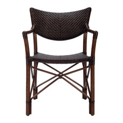 Selamat Designs - Heny Arm Chair - Cinnamon - Sensual and slender loop back adds a classic touch to this Mid-Century inspired bistro chair. Handmade accents in rattan pole, and dye-boiled peel weave, exhibit a symmetrical visual feel, adding flair to any dining or casual living setting.