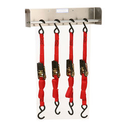 None - Multipurpose Wall Hanger - Ensure that you are able to quickly find any cords or tie-down straps that you need with this small wall hanger. You will be able to organize needed straps on the wall rather than having them become knotted together in a drawer or bin.