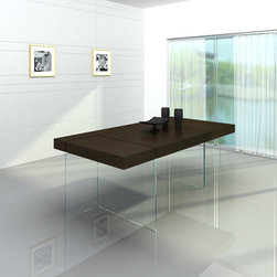 Aura Modern Floating Tobacco Dining Table - Modern Dining Table