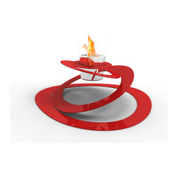 Decorpro - Ovia Bio Ethanol Indoor/Outdoor Fireburner In Red - The OVIA is an unconventionally designed Fireburner / Firepot whose interconnecting rings create the illusion of a floating flame.  Showstopping on a coffee table, dining room table or in the backyard, it is also highly durable and easy to use. Use the Organica BioFire Safety Fuel and Sunjel firepot fuel canister to create a wonderful flame. Available in red or white.