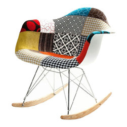 Patchwork Modern Ash Wood Rocker - This modern beauty marries the iconic shape of the Modern Ash Wood Rocker with a brilliant patchwork design. Now you don't have to choose between mid-century modern and bohemian styles. We like this stylish seat in a bedroom, living room, or anywhere you're looking to mix things up.