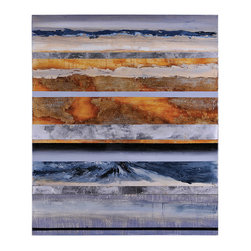 Reaction - This striking abstract features bronze and blue tones with touches of silver leaf, gold leaf, and high gloss. It is accented with wood panels for the perfect composition.