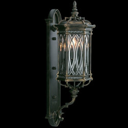 Fine Art Lamps - Warwickshire Three-Light Outdoor Wall Mount in Wrought Iron Patina Finish - Medium wall mount of individually beveled, leaded glass panels set in a dramatic dark wrought iron patina.  - Fine Art Lamps is world-renowned for original, elegant lighting designs favored by discerning designers, architects, consumers, and luxury homebuilders. Exquisite finishes are the company's hallmark, and many finishes take countless steps to achieve the desired effect. Each finish is handcrafted making it a one-of-a-kind work of art. Fine Art Lamps - 612281ST