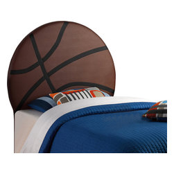 Powell - Powell Upholstered Basketball Twin Sized Headboard X-930-098 - Perfect for your little athlete, the Basketball Headboard is an eye-catching centerpiece for your childs bedroom. The headboard has a large Brown and White PU basketball design that is sure to be the highlight of your childs space. The headboard easily attaches to twin size bed rails to create a fun place for your child to sleep. Easily wipes clean with a damp cloth.