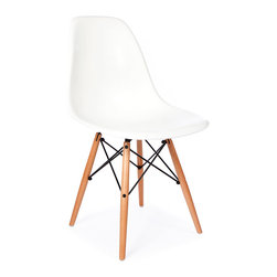 Vertigo Interiors - High Quality Eames Style Classic DSW Dowel Dining Lounge Side Chair, White - Looking for that retro/modern look? Something with a range of colors and quirky styling, yet a classic, cultured look? Vertigo's fantastic reproduction Eames range constantly continues to grow in popularity and is just what you're looking for! This is the dowel leg Eiffel version, combining beautiful maple legs with sleek colorful side chair seat.