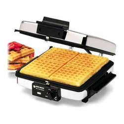 Black & Decker - Black and Decker Non-Stick Grill, Griddle and Waffle Maker - A home-cooked breakfast has to include fresh waffles. Now you can enjoy tasty waffles anytime with this Black & Decker no-stick grill. It has 3-in-1 convenience, with grill, griddle and waffle settings. Cool-touch handles allow you to take food right to the table. G48TD. Folds Open Flat. Removable Plates. Cooking Area 9 in.. Cord Wrap. Ready Light. Variable Temperature. 3-in-1 - 3 sets of cooking plates for maximum versatility: Waffle, Griddle & Grill. Griddle lies flat for double the cooking space. Non-Stick surface make cleanup a breeze. Totally immersible for easy cleanup once probe is removed. Cool-touch handles let you take the waffle right to the table Bake fresh waffles, flip flapjacks, or grill meat. This versatile grill & waffle baker with reversible nonstick grids gives you cooking options for any meal. The grill grids have channels to let fat drain away, and the nonstick surface makes cleanup easy.