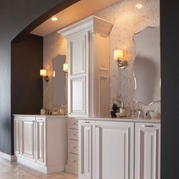 Design it the with your syle - Bathroom vanities with a unique tile backsplash with drawer tower in the middle