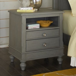 Lake House 2 Drawer Nightstand - Don't forget the matching nightstand – the Lake House 2 Drawer Nightstand – which matches the rest of the Lake House collection. It features clean lines and hand-turned bun feet and is made of poplar solids and veneers over engineered wood. There's two felt-lined drawers and an open storage space that are great for keeping all sorts of items in their place.About New Energy KidsNE Kids is a company with a mission: to create and import truly unique furniture for your child. For over thirty years they've been accomplishing this mission with flying colors, one room at a time. Not only will these products look fabulous, they will provide perfect safety for your children by adhering to the highest standards set by the American Society for Testing and Material and the Consumer Products Safety Commission. Your kids are in the best of hands, and everyone will appreciate these high-quality, one-of-a-kind pieces for years to come.