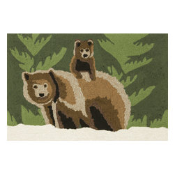 """Trans-Ocean Inc - Bear Family Forest 24"""" x 36"""" Indoor/Outdoor Rug - Richly blended colors add vitality and sophistication to playful novelty designs. Lightweight loosely tufted Indoor Outdoor rugs made of synthetic materials in China and UV stabilized to resist fading. These whimsical rugs are sure to liven up any indoor or outdoor space, and their easy care and durability make them ideal for kitchens, bathrooms, and porches; Primary color: Green;"""