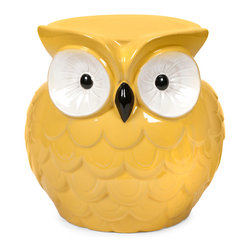 Hoot Owl Yellow Garden Stool - Who doesn't love this collection of small scale garden stools? They bring bold color, whimsical style and a resting place to any area.