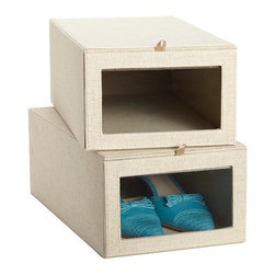Linen Drop-Front Shoe Box - I have plenty of shoe organizers, but my nicer shoes are in boxes on a high shelf and always seem to get forgotten. These linen-covered shoe boxes keep shoes visible.