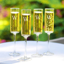 Cathys Concepts - Cathys Concepts Personalized Cylinder Flute - Set of 4 Multicolor - 3668-4 - Shop for Drinkware from Hayneedle.com! Make a toast to boast about with the Cathys Concepts Cylinder Flute - Set of 4. These modern flutes create an air of sophistication through smooth lines with a touch of romance making them perfect for any special occasion from congratulatory toasts to wedding wishes. You can also add that personal touch with custom vertical engraving on the glasses in contemporary block font for no extra charge.