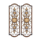 Uttermost - Micayla Large Metal Wall Art - No matter where you hang this hand-forged metal art, it will light up your wall. The distressed chestnut metal has burnished edges and antiqued gold details that shine like a beacon. The open metalwork allows the texture and color of your wall to come through adding depth and interest.