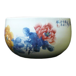 Golden Lotus - Chinese Hand Painted Blossom Flowers Porcelain Pot - This pot is hand made with white porcelain base color and artistic drawing of oriental blossom flowers on the surface.