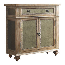 """Hooker Furniture - Antique Mirrored Chest - 5099 - White glove, in-home delivery included!  Providing great design and functionality this Antique Mirrored Chest features one drawer and one shelf behind the doors.  It is crafted using hardwood solids and antique mirror.  Drawer: 31"""" w x 11"""" d x 9"""" h  Top and bottom shelf openings: 31"""" w x 11"""" d x 9"""" h"""