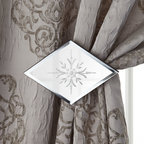 """Horchow - Mirrored Holdback/Tieback - Mirrored Holdback/TiebackDetailsDiamond-shaped mirrored glass holdback/tieback brings extra glamour to your window treatments. Mirrored glass in metal frame.Beveled edges.Floral design in center.7.5""""W x 4.5""""D x 5.25""""T."""