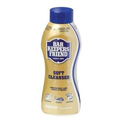 Bar Keeper's Friend - Bar Keepers Friend Liquid Cleanser - Liquid Cleanser from the Bar Keepers Friend helps to keep your bathroom and kitchen free from dirt, stains, buildup, and just about anything else. The unique formula of the liquid helps to remove rust and is the best one to clean cookware and stainless steel appliances. The liquid is suitable for cleaning stainless steel, porcelain, fiber, glass, stovetops, imitation marble, pots, pans, countertops, tubs, bathroom tiles, toilets and a wide variety of things. It is recommended for lightening scratches of stainless steel.